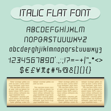 text sample: Alphabet, numbers, punctuation marks set and text sample isolated on turquoise background .Italic flat font. Upper and lower case. Illustration