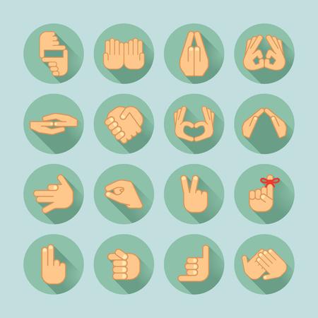 clench: hand icon set Illustration