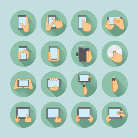 palm reading: smartphones and tablets icon set