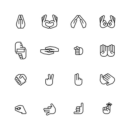 clench: sixteen flat style hand icons isolated on white background