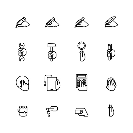 hands tied: Sixteen flat style black outline computer icons isolated on white