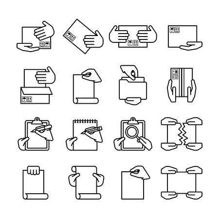 los iconos de ordenador contorno negro dieciséis estilo plana aislados en blanco
