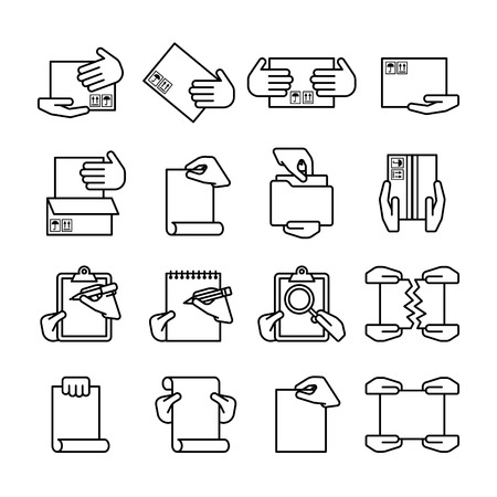 spiral binding: Sixteen flat style black outline computer icons isolated on white