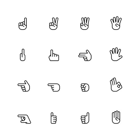 gesticulation: sixteen flat style hand icons isolated on white background