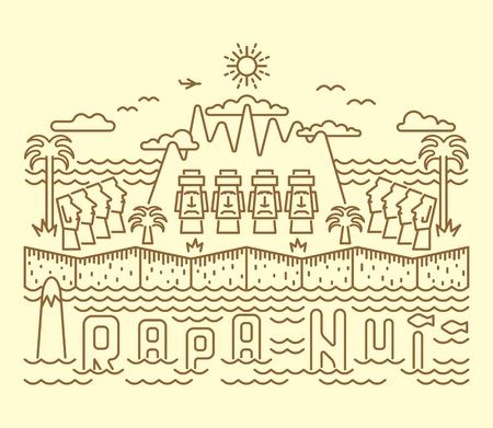 rapa nui: paisaje de estilo de dibujos animados plana Isla de Pascua (Rapa Nui) con Moais, montañas, palmeras, las nubes, el mar y san. Cartel del transporte.