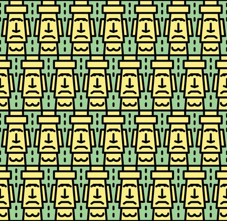 rapa nui: estilo plano Isla de Pascua de la historieta (Rapa Nui) de fondo sin fisuras con Moais. Cartel del transporte.