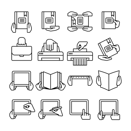 palm reading: Sixteen flat  black outline computer icons isolated on white