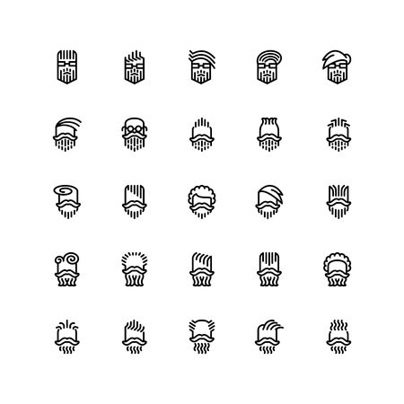 Twenty five  icons of male haircuts, beard, mustaches isolated on white background. Emoji and avatars flat style set.