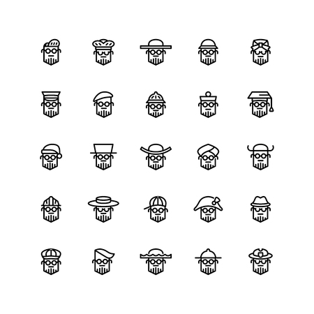 Twenty five  icons of men wearing different kinds of hats isolated on white background. Emoji and avatars flat style set. Illusztráció