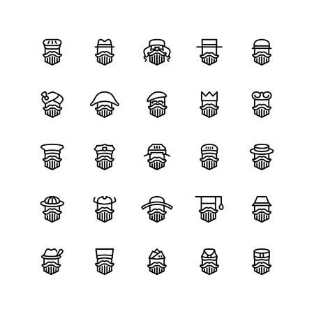 Veinticinco iconos de hombres con diferentes tipos de sombreros aislados sobre fondo blanco. Conjunto de estilo plano de emoji y avatares. Ilustración de vector