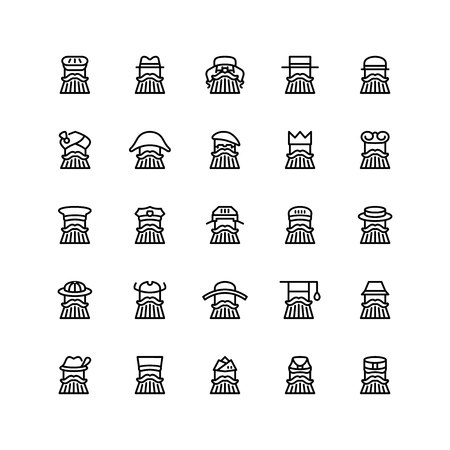 Twenty five  icons of men wearing different kinds of hats isolated on white background. Emoji and avatars flat style set. Illusztráció
