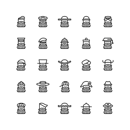 Twenty five icons of men wearing different kinds of hats isolated on white background. Emoji and avatars flat style set. Vektorové ilustrace