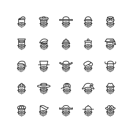 Twenty five icons of men wearing different kinds of hats isolated on white background. Emoji and avatars flat style set.