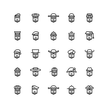 Twenty five  icons of men wearing different kinds of hats isolated on white background. Emoji and avatars flat style set. Illustration