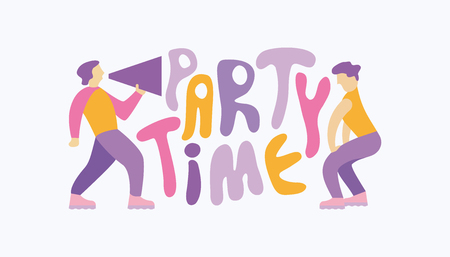 "Man shouting through megaphone, inviting to the party and a dancing woman. Handwritten cartoon style slogan ""Party Time� Stock Illustratie"