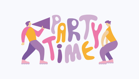 """Man shouting through megaphone, inviting to the party and a dancing woman. Handwritten cartoon style slogan """"Party Time� Stock Illustratie"""