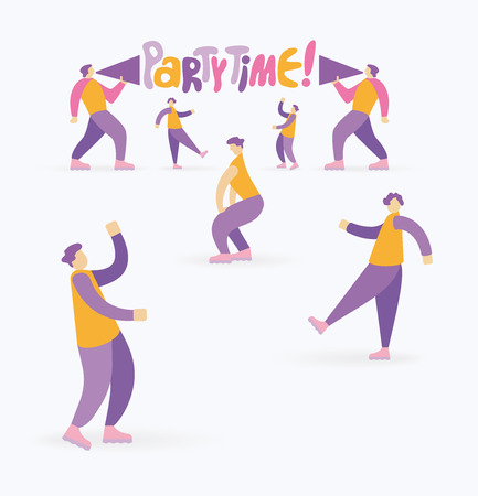 "Two men shouting through megaphone, inviting to the party and a dancing people. Handwritten cartoon style slogan ""Party Time�"
