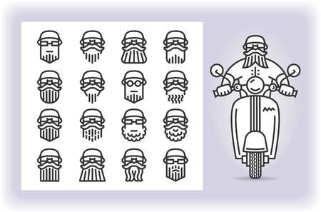 Redactable picture of person with mustache and beard wearing a helmet that riding by scooter and set of sixteen replaceable icons of that driver heads isolated on white. Emoji and avatars flat style set.