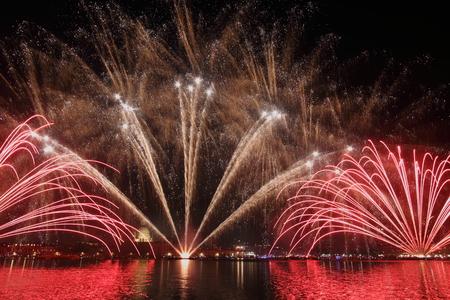 feast: Venice fireworks: Redeemers feast Stock Photo