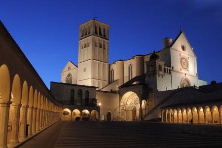 francis: Assisi saint Francis Basilica after sunset view