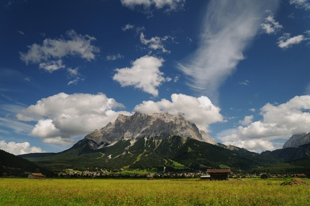 the zugspitze summit seen from austria photo