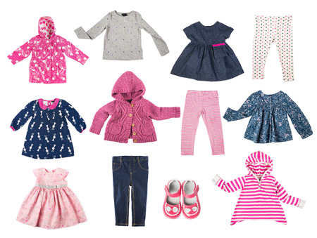 Set of different children's clothes, shirts, jacket, shirt, pants, shoes, dresses, baby's wardrobe isolated on white background