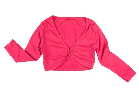 bolero: bright light cotton womens pink bolero jacket isolated on white background