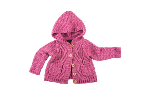acrylic yarn: Baby warm knitted woolen pink sweater with buttons and hood