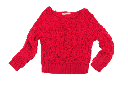 bright red acrylic women knitted sweater isolated on a white background Foto de archivo