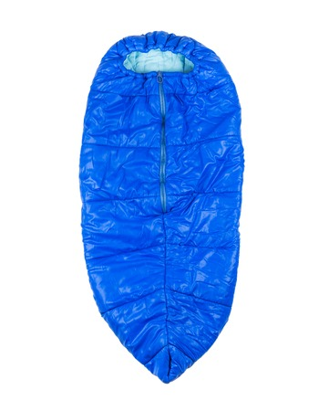 warm things: Blue Childrens sleeping bag for camping, hiking, traveling isolated on white background Stock Photo