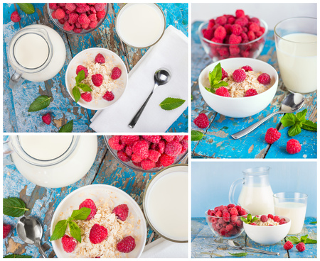 jag: oat flakes with milk and frash raspberries for breakfast, glass and jag with milk, spoon, fresh mint on an old wooden blue background.  Collage. The concept of a healthy diet, weight loss