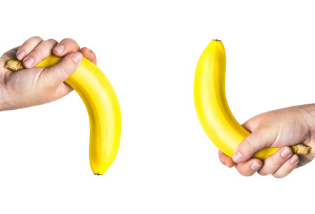 impotent: two mens hands holding the big bananas up and down