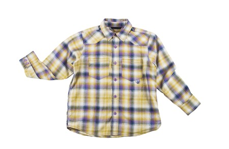 ironed: clean ironed plaid boys shirt Isolated on white background