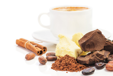 cup of hot chocolate and ingredients for cooking  homemade chocolate, cocoa beans, cocoa powder, cocoa butter, unsweetened block chocolate, baking chocolate, cinnamon isolated on white background