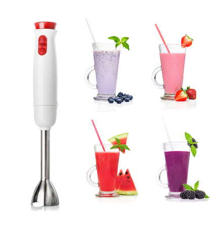 cocktail mixer: Different types of smoothies and Immersion blender isolated on a white background