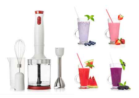 immersion: Different types of smoothies and Immersion blender isolated on a white background