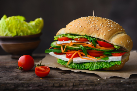 Vegan sandwich with raw vegetables