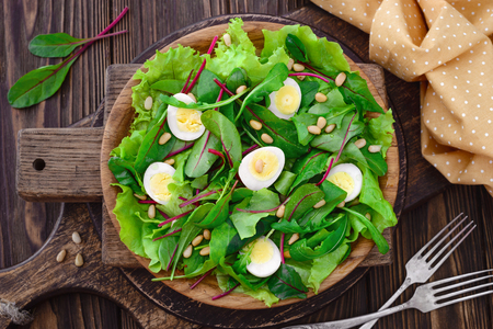 Fresh spring appetizing quail eggs, pine nuts, arugula swiss chard salad, vegan, vegetarian, raw food and healthy lifestyle concept