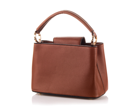 Female brown leather bag Imagens