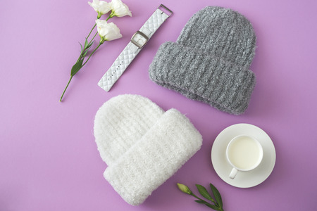 Knitted white and gray hats