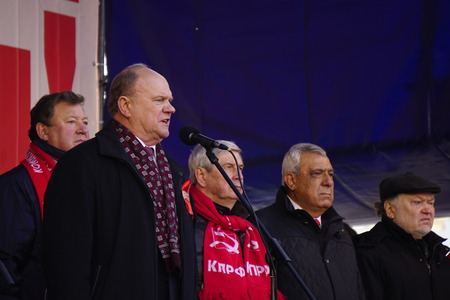 parliamentarian: MOSCOW, Russia - 7 Nowember 2015: Gennady Zyuganov at the meeting of the Communist party of the Russian Federation