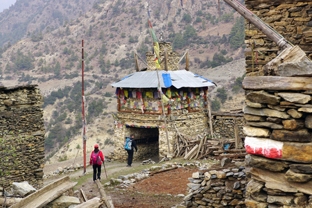 porter house: Annapurna circuit Hiking trail in Nepal passing along the slopes of the mountain massif of the Annapurna National Park of Annapurna. Editorial