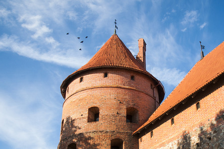 brich: The tower of medieval brick castle in Trakai, Lithuania Editorial