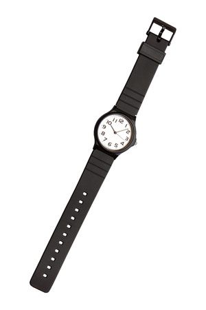 Classic black and white wrist watch on white background, isolated