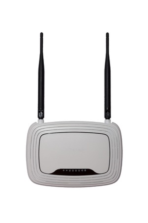 White WI-FI router with two antennas isolated on white background, clipping path