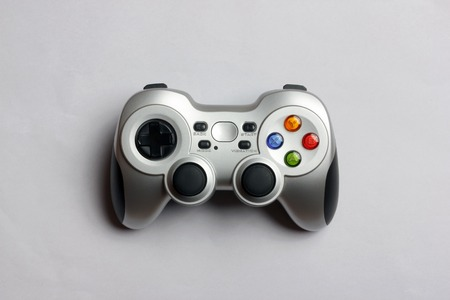 arcades: PC wireless game controller on a gray background, top view