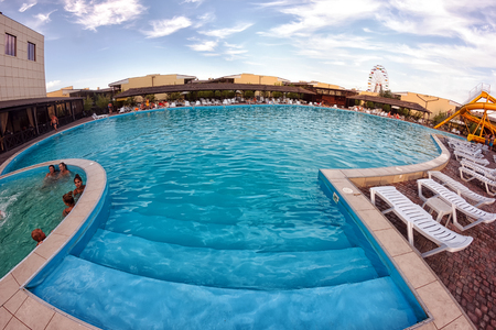 Kirillovka, Ukraine - August 28, 2016: Swimming pool with jacuzzi at hotel