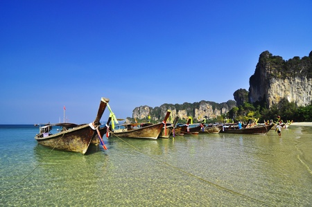 railay: The beach with boats at Railay island, Krabi, Thailand