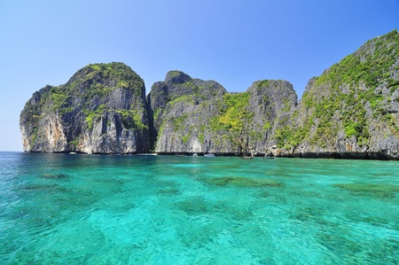 republic dominican: The sea green color and island at Maya Bay Island, Krabi, Thailand