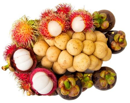 Mangostan-, Süd-Longsat, Rambutan Früchte Standard-Bild